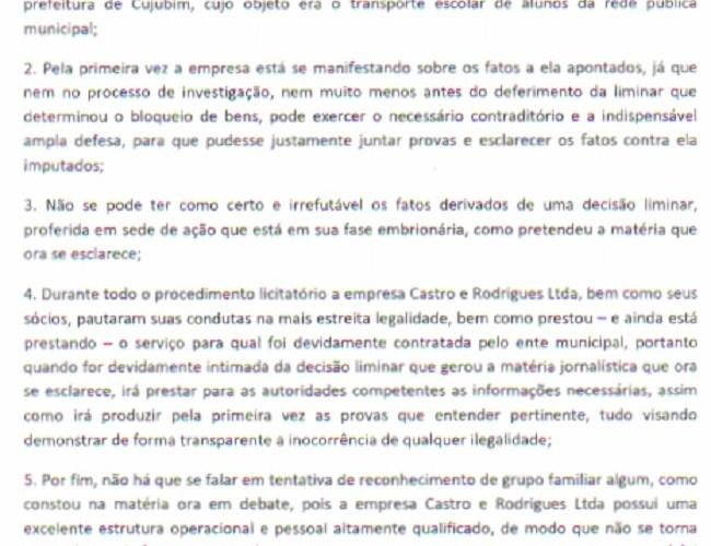 Direito de Resposta – Castro & Rodrigues Ltda