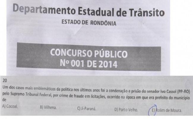 Condenação de Cassol vira questão de História e Geografia de Rondônia no concurso do Detran