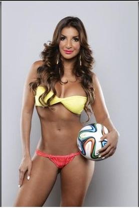 Jale Berahimim, jornalista da Costa Rica que virou atração na Copa do Mundo. Foto: Reprodução/Twitter