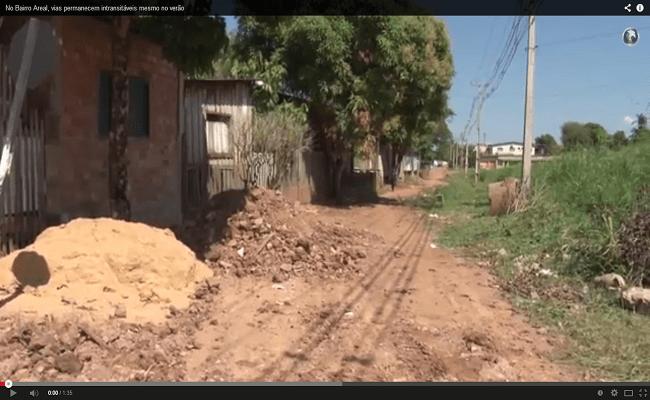 No Bairro Areal, vias permanecem intransitáveis mesmo no verão