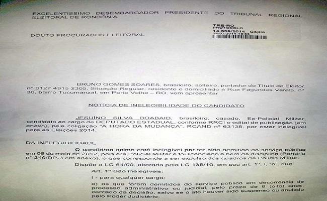 Cidadão comunica ao TRE possível inelegibilidade de ex-PM e pede impugnação de candidatura