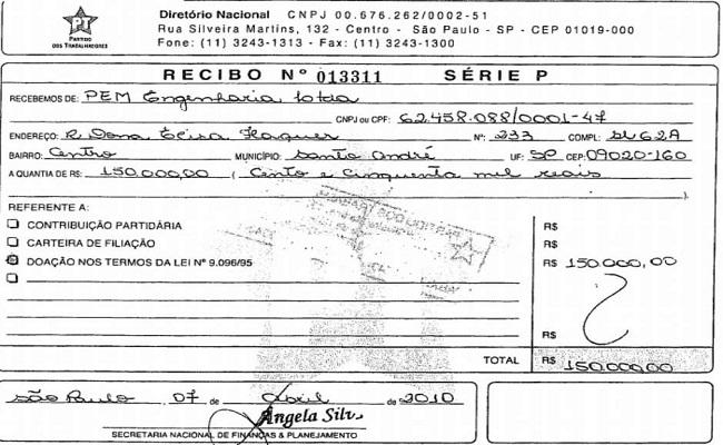 PT recebeu propina de R$ 4 milhões, revelam documentos