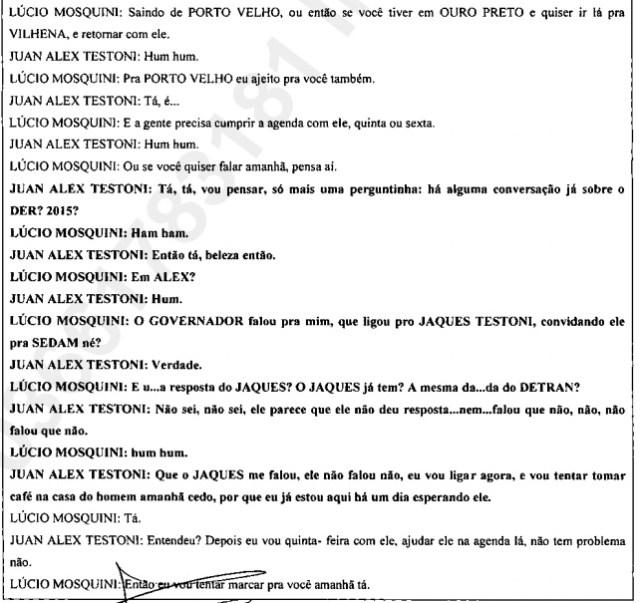Conversa entre Mosquini e Alex tratando da possível nomeação de Jaques Testoni
