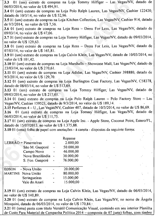 Descrição do manuscrito encontrado na casa de Mosquini