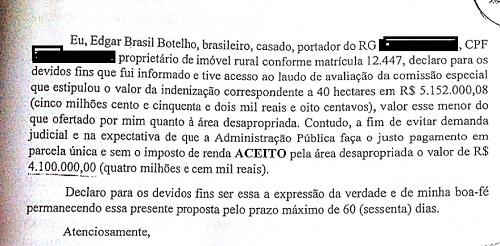 Comissão provisória do governo avaliou o imóvel de apenas 40 hectares em R$ 5 ,1 milhões. Avaliação deveria ter sido feita pela Caixa Econômica Federal