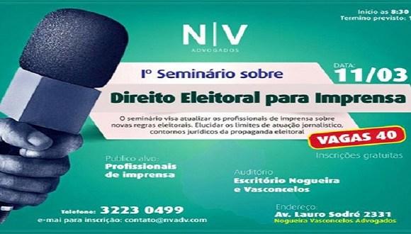 Seminário de direito eleitoral voltado a jornalistas acontece nesta sexta
