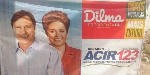 Gurgacz em publicidade na campanha de 2014 aparece ao lado da presidente Dilma Rousseff