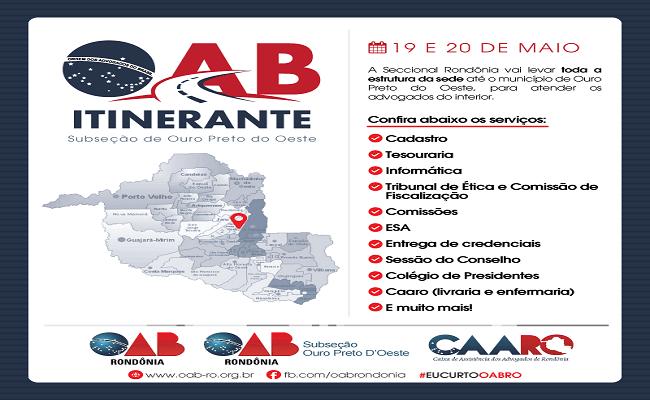 OAB Itinerante estará na Subseção de Ouro Preto do Oeste esta semana