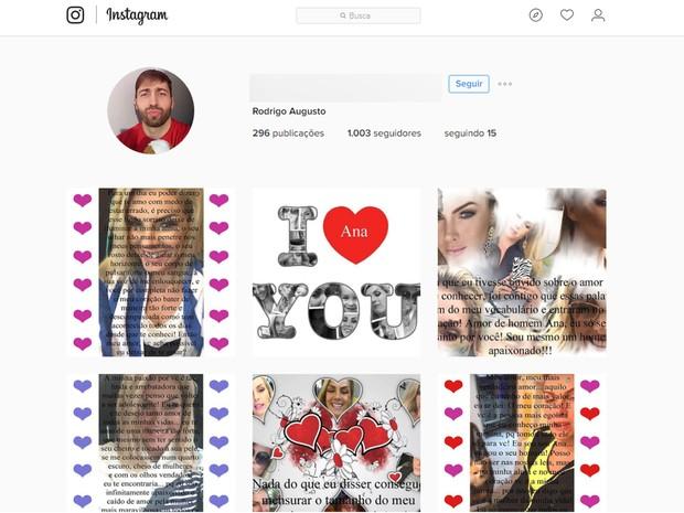 Instagram do acusado, era cheio de referências à modelo