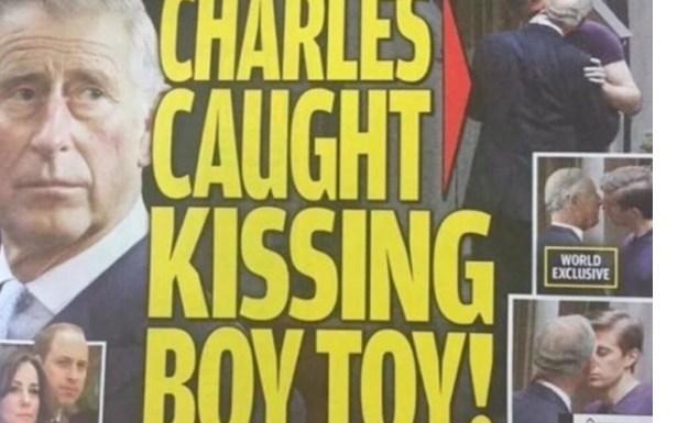 """""""Príncipe Charles é gay"""", estampa jornal americano com fotos dele beijando um rapaz"""