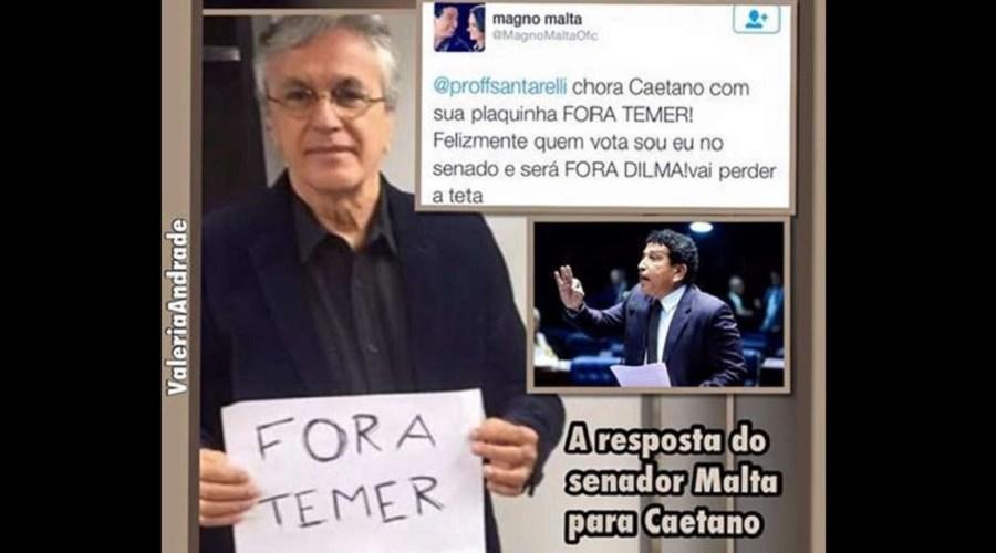 """Senador dá bronca em Caetano Veloso, """"quem vota sou eu"""""""