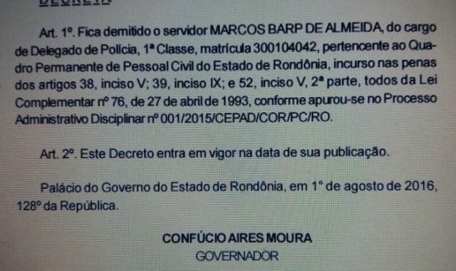 Decreto de exoneração do delegado Marcos Barp de Almeida
