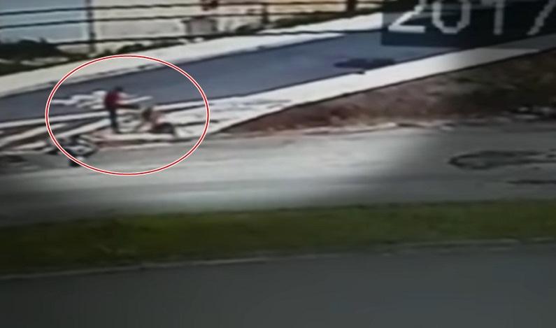 Vídeo mostra homem atropelando casal em moto e chutando ex-mulher