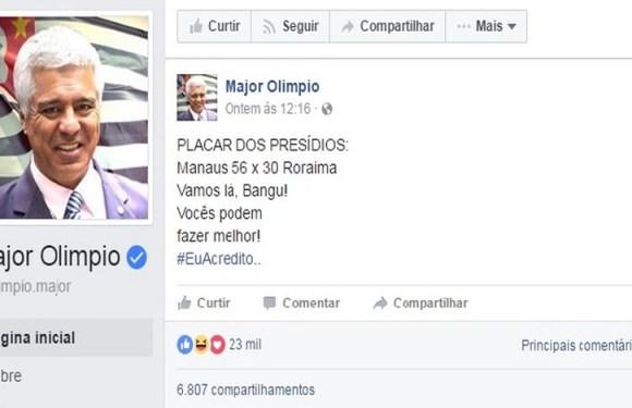 """""""Vamos lá Bangu, vocês podem fazer melhor"""", diz deputado Major Olímpio após massacres"""