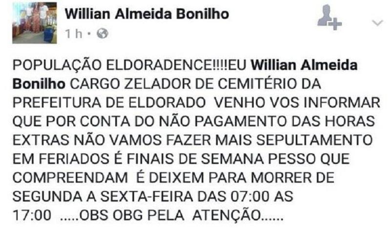 Coveiro avisa que é 'proibido' morrer nos fins de semana em Eldorado (SP)