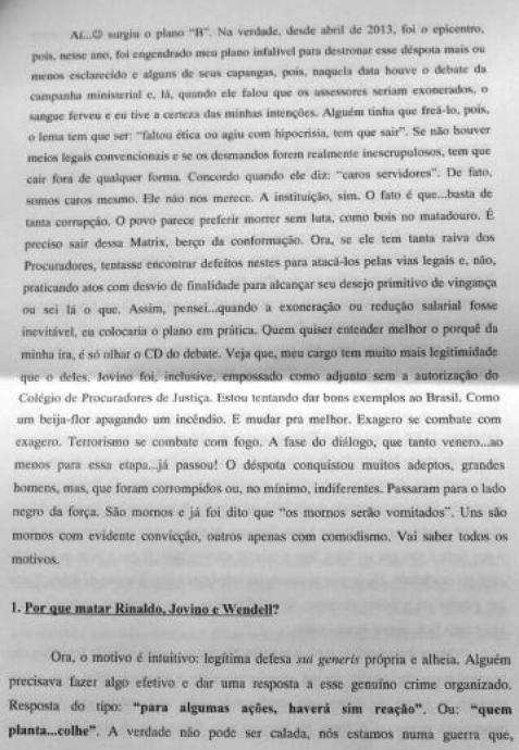 Trecho da carta do atirador divulgada pelo Ministério Público do RN (Foto: Divulgação/MPRN)