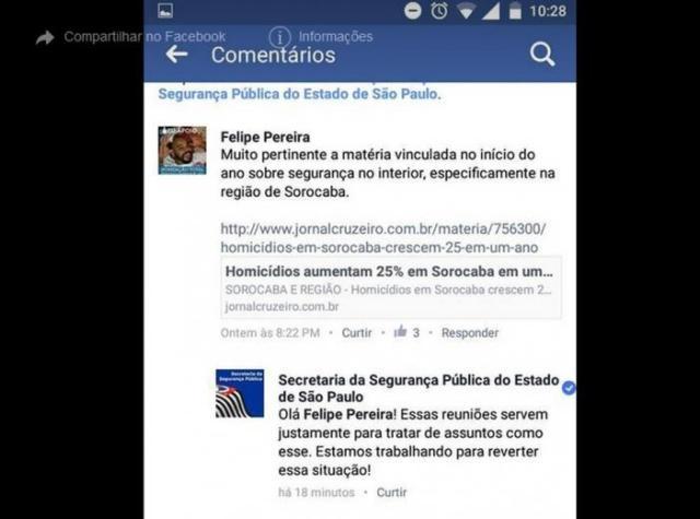Secretaria de Segurança Pública respondeu ao comentário de usuário e depois o bloqueou da página (Foto: Reprodução/Facebook)