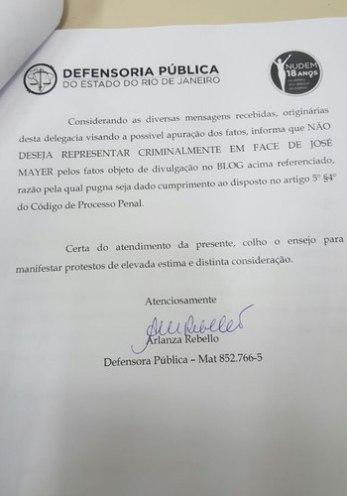 Documento assinado pela defensora pública Arlanza Rebello