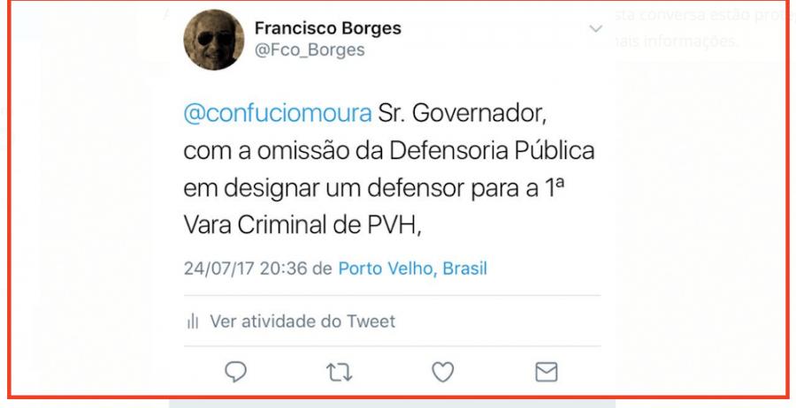 Cansado de esperar por defensor público, juiz, vice-presidente da AMB cobra governador pelo Twitter