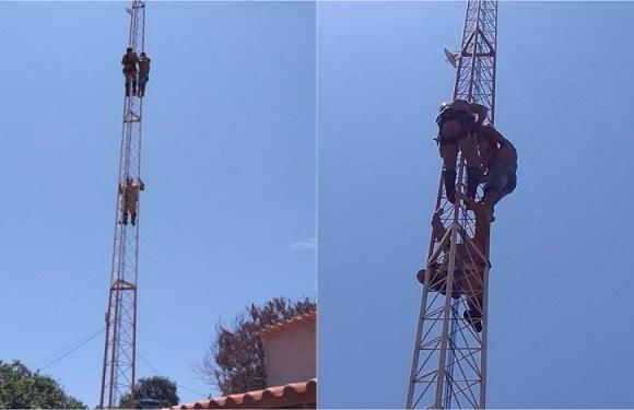 Menino de 4 anos é resgatado após subir cerca de 30 metros em torre, em GO