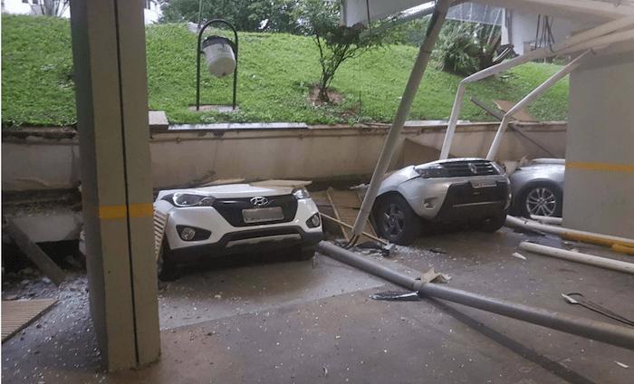 Piso cede e esmaga 25 veículos estacionados em garagem de prédio residencial, no DF