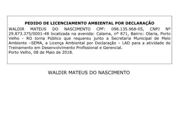 Pedido de Licenciamento Ambiental por Declaração – Waldir Mateus do Nascimento