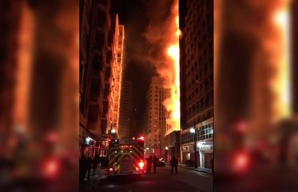 Prédio de 24 andares desaba após incêndio no Centro de SP
