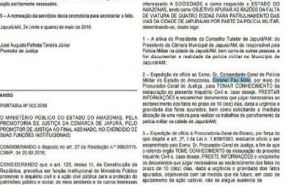 Em Diário Oficial, Promotoria do AM chama coronel de 'pau mole'
