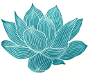Line drawn aqua lotus, symbol of Pain FULLY Living