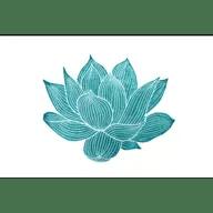 teal line drawing of lotus flower