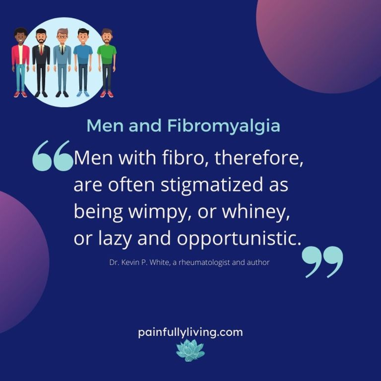 Dark Blue background, purple circles in top right and lower left corners. In the upper left corner is a light blue circle with cartoons of 5 different looking men. Title in light aqua font: Men and Fibromyalgia Under that a quote in white font. Large light aqua commas before and after quote.
