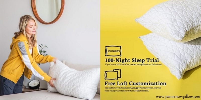 coop home goods shredded memory foam pillow pain remove pillow