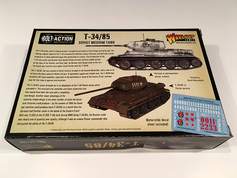 Bolt Action T34/85 - Rear of Box
