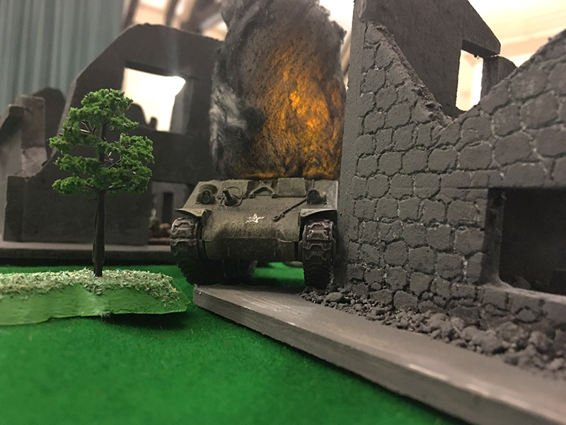 Inevitably, the Sherman is destroyed by the Tiger after the previous shot immobilises it