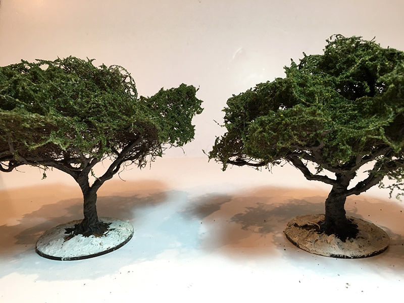 Two almost completed trees