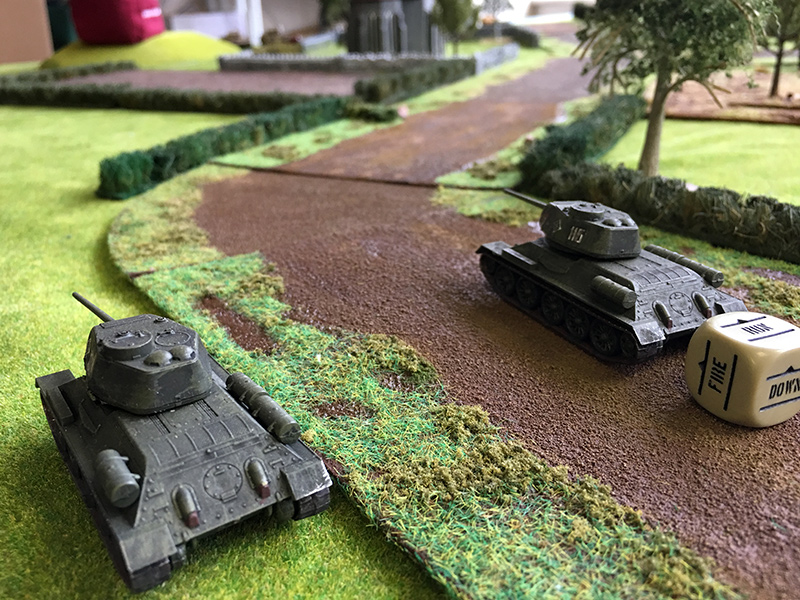 Russian T34/85s advance onto the board
