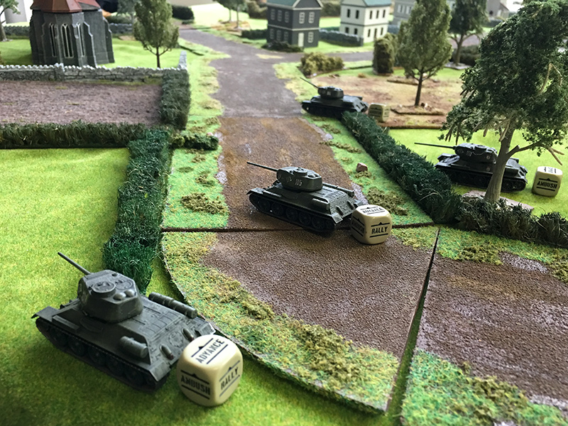 The Russian left flank advance over the road