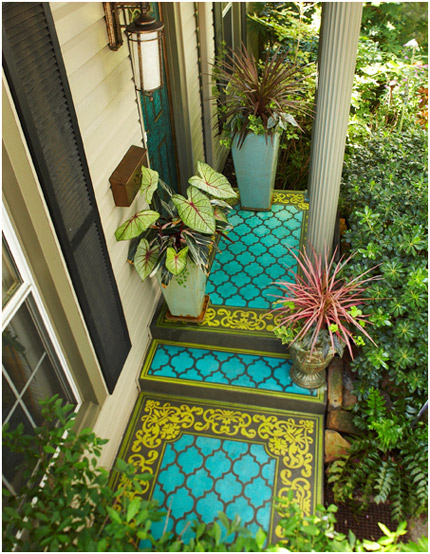 Doormats Painted Floor Concrete Yellow Turquoise Blue Paint Brush Stencil Entryway Doorway House Home Decor Exterior
