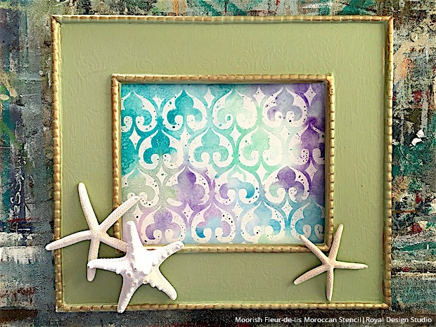 DIY Wall Decor Art Watercolor Stencil Starfish Beach Beachy Cool Colors Purple Blue Green Moorish Fleur-de-lis Moroccan Paint Frame Framed