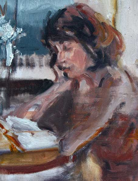 She was reading SlaughterHouse Five at Epoch when I painted her.