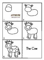 رسم تعليمي للاطفال الصغار بقرة