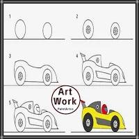 رسمة سيارة سباق للأطفالوالمبتدئين