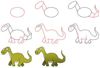رسم ديناصور للأطفال الصغار خطوة بخطوة