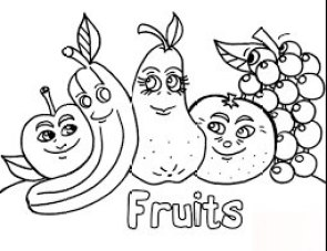 صور فاكهة غير ملونة للطباعة للأطفال