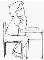 تلوين رسمة طفل يفكر