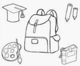 رسومات أدوات مدرسية مفرغة للتلوين
