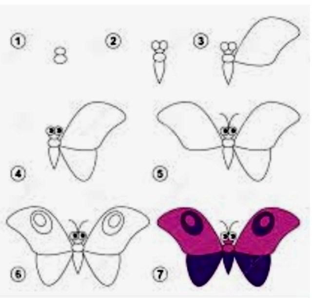 رسم سهل للاطفال الصغار رسم فراشة ملونة