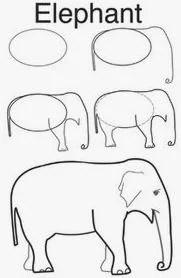 رسم فيل للاطفال الصغار