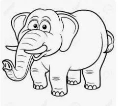 رسمات تلوين فيل بسيط وجميل