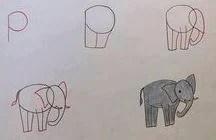 رسمات سهلة رسم وتلوين فيل بسيط بالرصاص